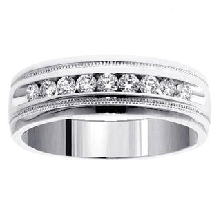14k White Gold Men's 1/2ct TDW Brilliant Diamond Ring (G-H, SI1-SI2)