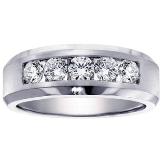 14k White Gold Men's 1ct TDW Channel Diamond Wedding Ring (G-H, SI1-SI2)