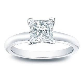 Auriya 14k Gold 3/4ct TDW Princess-cut Diamond V-End Solitaire Engagement Ring (H-I, SI1-SI2)