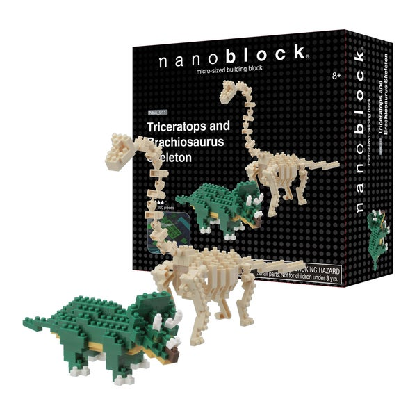 Ohio Art Games & Puzzles nanoblock Animals Level 4 290-piece Triceratops and Brachiosaurus Skeleton