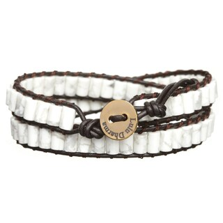 Gold Overlay White Howlite Cylinder Gemstone Wrap Bracelet