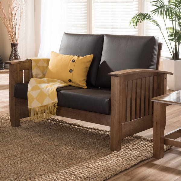 Baxton Studio Callidora Modern Classic Mission Style Walnut Wood Dark Brown Faux Leather 2-Seater Loveseat Sofa