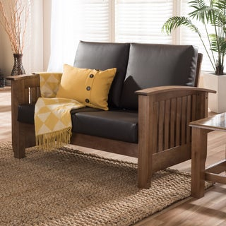 Baxton Studio Callidora Modern Classic Mission Style Walnut Wood Dark Brown Faux Leather 2-Seater Loveseat Sofa
