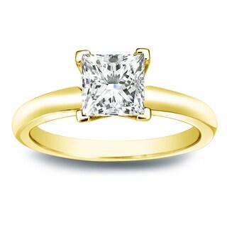 Auriya 14k Gold 3/4ct TDW Princess-cut Diamond V-End Solitaire Engagement Ring (I-J, SI2-SI3)