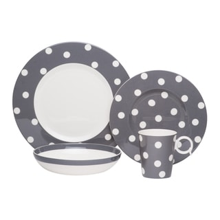 Red Vanilla Freshness Dots Grey 4-piece Place Setting