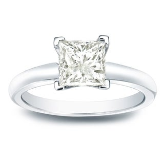 Auriya 14k Gold 1ct TDW Princess-cut Diamond V-End Solitaire Engagement Ring (J-K, I1-I2)