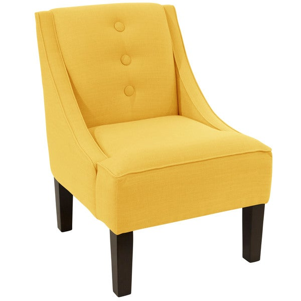 skyline furniture linen french yellow 3 button swoop arm chair