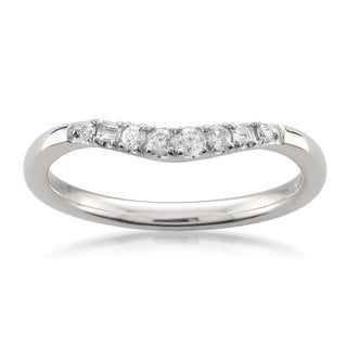 Montebello 14k White Gold 1/6ct TDW White Diamond Curved Wedding Band (H-I, SI1-SI2)