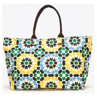 Lotus Geometric Floral Canvas Tote Bag