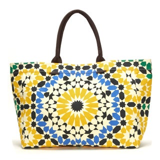 Goldenrod Geometric Floral Canvas Tote Bag