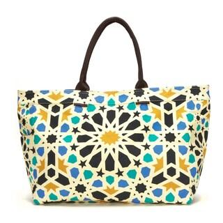 Dahlia Geometric Floral Canvas Tote Bag