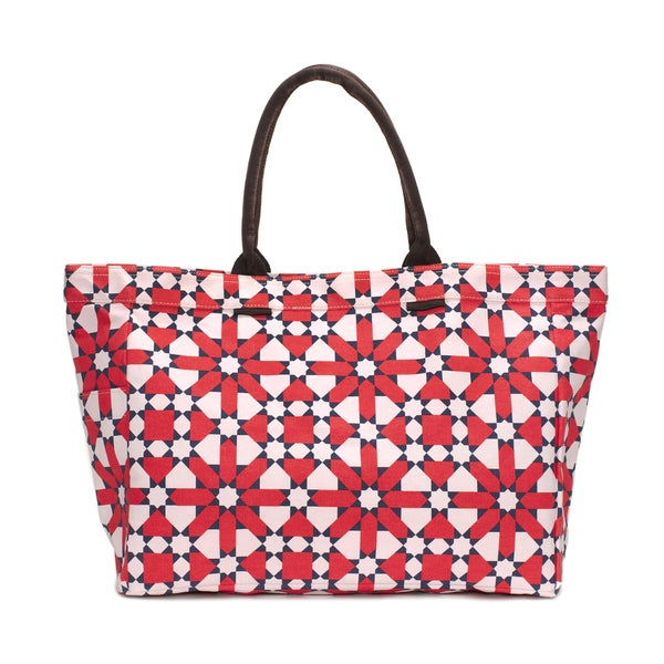 Red and Pink Flower Tote Bag