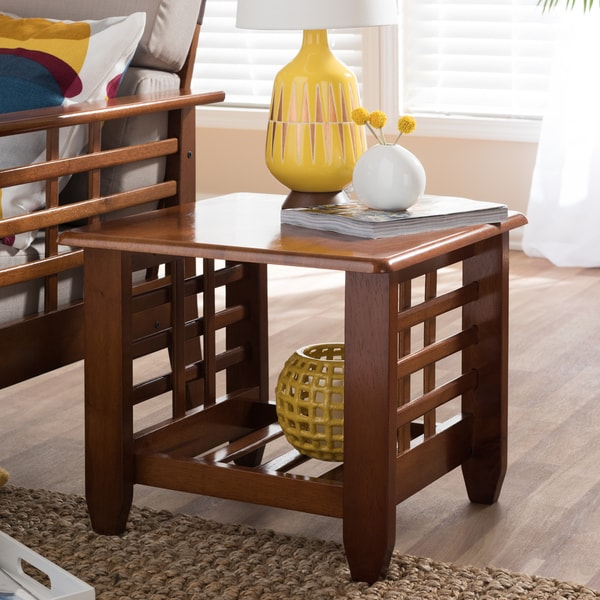 Mission style cherry finished wood living room occasional end table