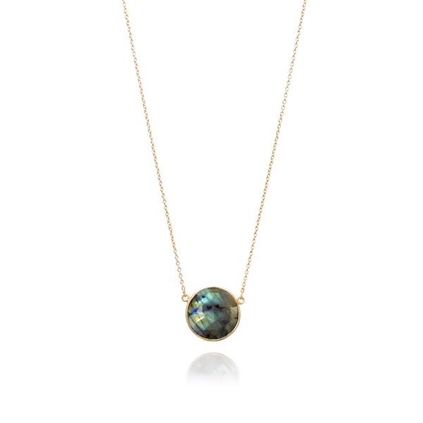 Gold Overlay Labradorite Round Gemstone Necklace