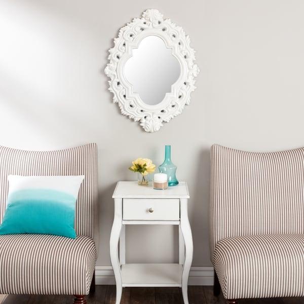 Abbyson Belvedere White Resin Wall Mirror 17745315
