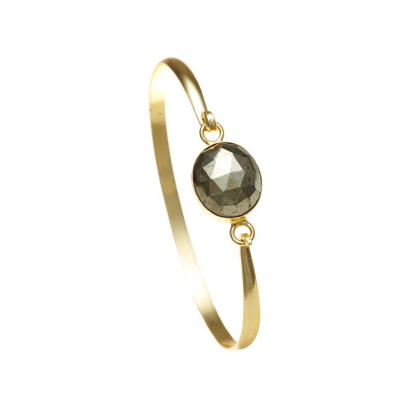 Gold Overlay Pyrite Bangle
