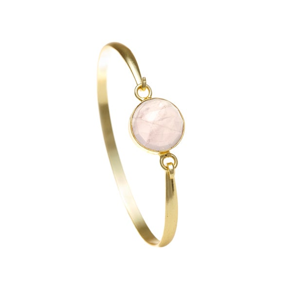Gold Overlay Rose Quartz Bangle
