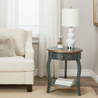 ABBYSON LIVING Clarence Single-drawer Teal and Gold End Table