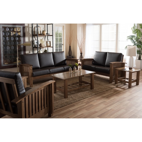 Mission style walnut wood dark brown faux leather living room 5 piece