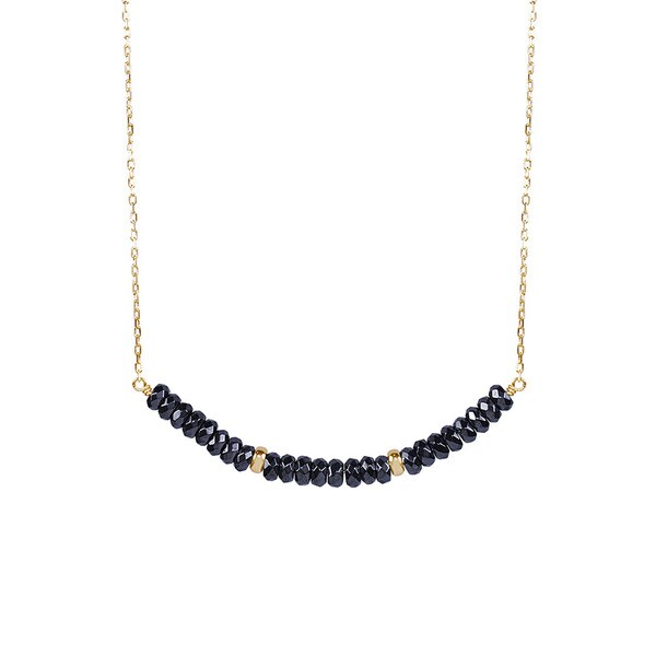 14K Gold and Black Hematite Bar Necklace
