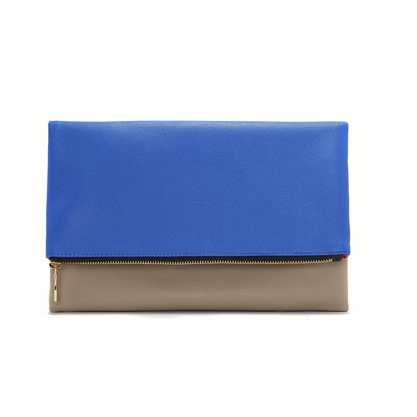 Blue and Taupe Foldable Clutch