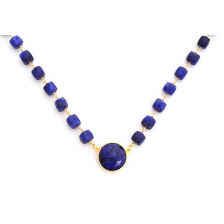 Gold Overlay Raw Sapphire Chunky Gemstone Necklace