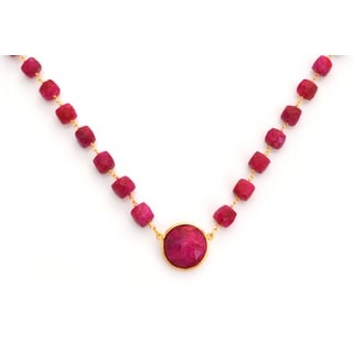 Gold Overlay Raw Ruby Chunky Gemstone Necklace