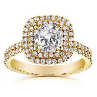 Annello 14k Yellow Gold 1 3/4ct TDW Diamond Double Halo Cushion Cut Engagement Ring (H-I, I1-I2)