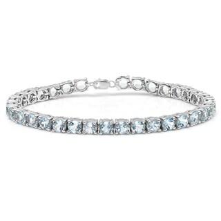 Sterling Silver 15ct TGW Round-cut Blue Topaz Tennis Bracelet