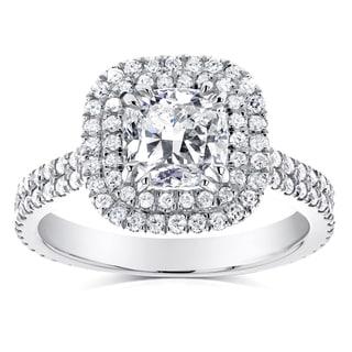 Annello 14k White Gold 1 3/4ct TDW Diamond Double Halo Cushion Cut Engagement Ring (H-I, I1-I2)