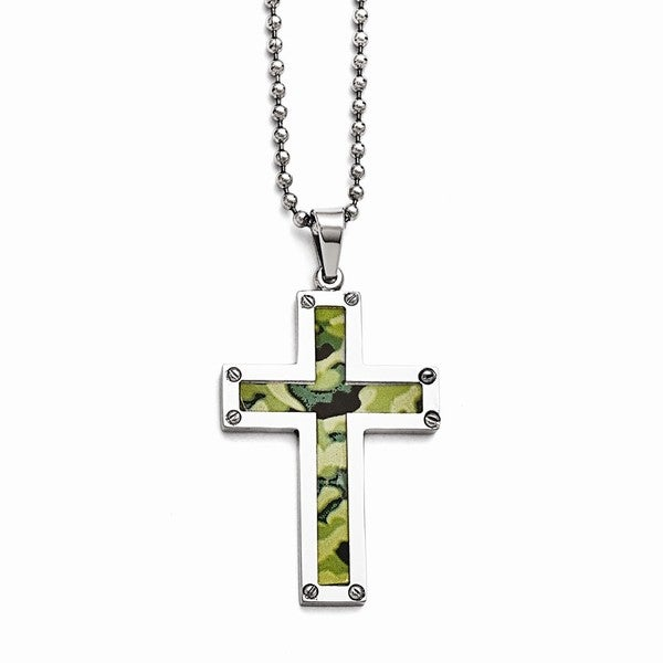 Versil Stainless Steel Polished Camoflage Cross Necklace