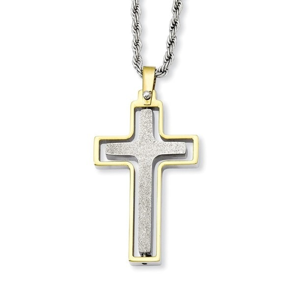 Versil Stainless Steel Yellow Laser Cut Moveable Cross Necklace