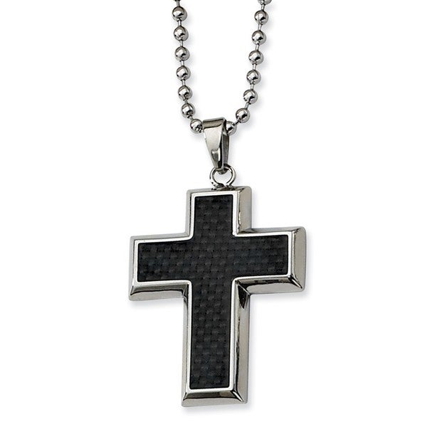 Versil Stainless Steel Carbon Fiber Cross Necklace