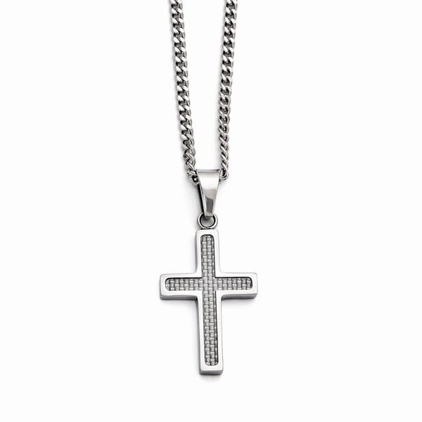 Versil Stainless Steel Polished Grey Carbon Fiber Small Cross Necklace
