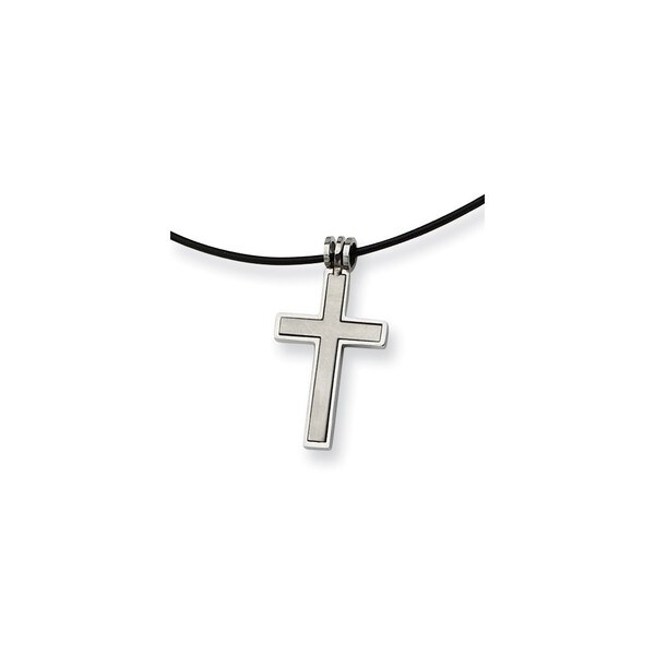 Versil Stainless Steel Leather Cord Cross Necklace