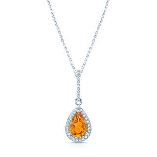 14k White Gold Citrine 1/10ct TDW Diamond Necklace (H-I, VS1-VS2)