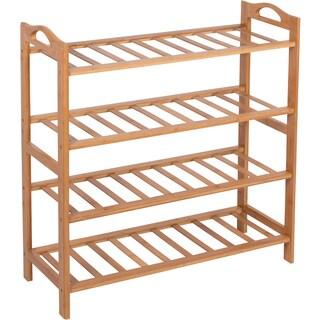 Shoe Rack 100-percent Natural Bamboo by Trademark Innovations (4 Shelves Natural)
