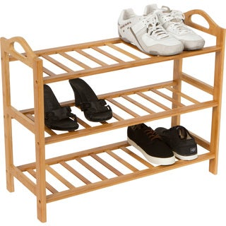 Shoe Rack 3 Shelves 100-percent Natural Bamboo by Trademark Innovations