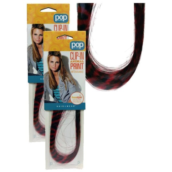 Hairuwear Clip in Animal Print Red Tiger (pack of 2)