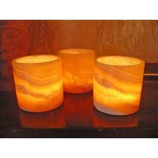 Set of 3 Alabaster Votive Holders (Egypt)