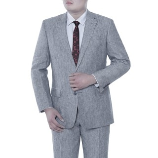 Verno Andrea Men's Blue Chalk Stripe Classic Fit LInen Italian Style 2-piece Suit