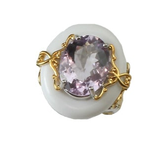 Michael Valitutti White Agate and Pink Amethyst Ring