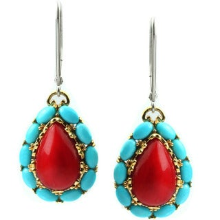 Michael Valitutti Red Coral and Sleeping Beauty Turquoise Earrings