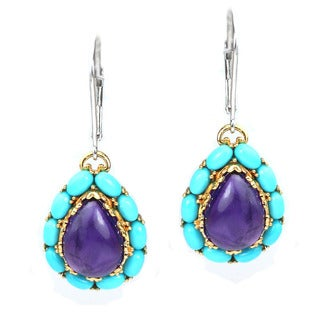 Michael Valitutti African Amethyst and Sleeping Beauty Turquoise Earrings