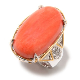 Michael Valitutti Oval Cabochon Salmon Bamboo Coral with Round White Zircon Ring