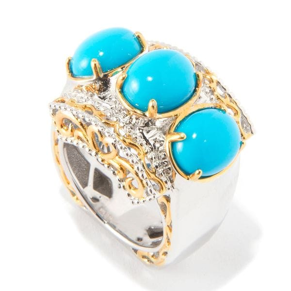 Michael Valitutti Three Stone Sleeping Beauty Turquoise Ring