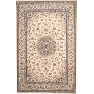 Herat Oriental Persian Hand-knotted Nain Ivory/ Blue Wool Rug (6'6 x 10')