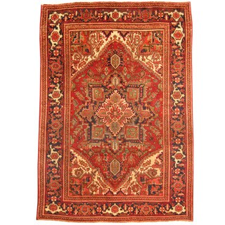 Herat Oriental Persian Hand-knotted 1940s Semi-antique Tribal Heriz Red/ Navy Wool Rug (6'6 x 9'4)