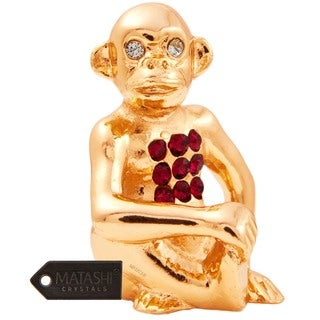 24k Goldplated Year of The Monkey Table Top Made with Genuine Matashi Crystals