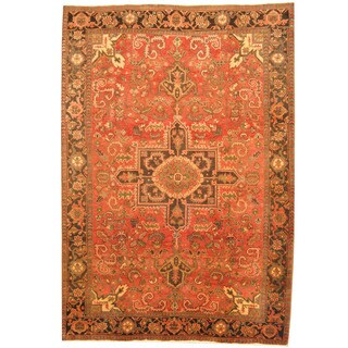 Herat Oriental Persian Hand-knotted 1940s Semi-antique Heriz Red/ Brown Wool Rug (7'2 x 10'4)